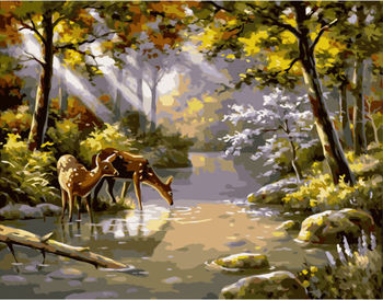 Картина по номерам 40x50 Косули на водопое VA1647