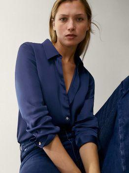 Блуза Massimo Dutti Синий 5145/690/452