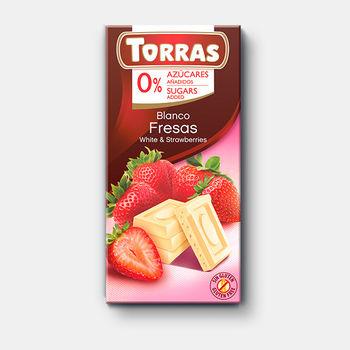 Шоколад белый с клубникой без сахара без глютена Torras  75г