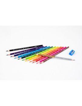 Набор цветных карандашей + 1 карандаш с 2 цветами серебро / золото - Colorino Dinsey Minnie Mouse