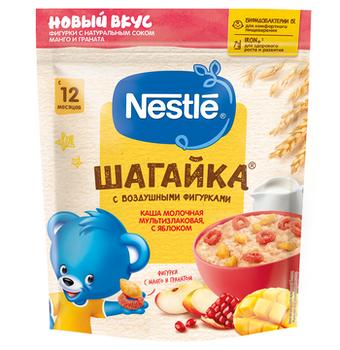 Каша мультизлак яблоко-сок манго/гранат с молоком Nestle Шагайка, с 12 месяцев, 190г