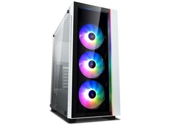 """DEEPCOOL """"MATREXX 55 V3 ADD-RGB WH 3F"""" ATX Case, with Side-Window, Dual 4mm Tempered Glass Side & Front panel, without PSU, Tool-less, 3x120mm ADD-RGB fans pre-installed, 1xUSB3.0, 2xUSB2.0 /Audio,1xRGB Button, White"""