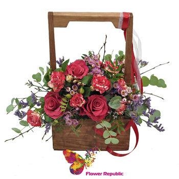 cumpără Cutie din lem cu flori un stil ECO în Chișinău