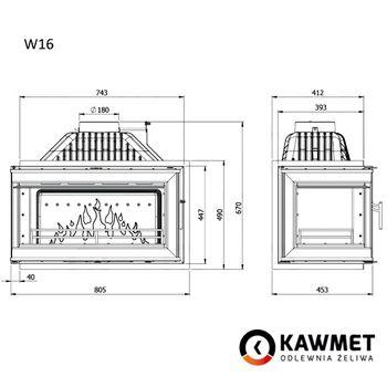 Каминная топка KAWMET W16 14,7 kW с левым боковым стеклом без рамы