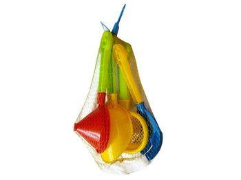 Набор игрушек для песка 4ед (лопата,грабли,лейка,сито) 25cm