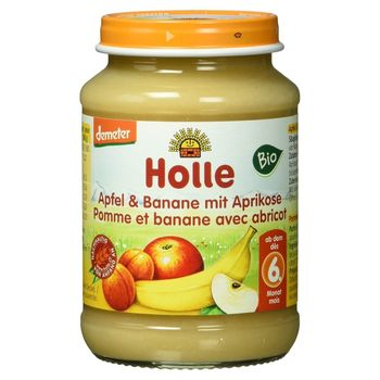 Пюре с яблоком, бананом и абрикосом с 6 месяцев Holle, 190 г