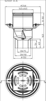 купить Трап ПП с вертик. выпуском DN75/110 для балкона /терассы(145x145 нерж) HL3100T M в Кишинёве