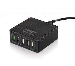 Universal 5-port USB Charger - Gembird EG-UQC3-02, 1xUSB QC3.0 output: DC 3.6V...6.5V / 3A, 6.5V...9V / 2A, 9V...12V / max 1.5A,  up to 40 W (8A at 5 V DC) totally, Input: 100/240V, Black