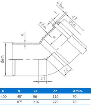 купить Отвод ПВХ ф. 400 x 90°  (нар.) BTH в Кишинёве