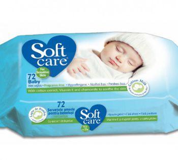 купить Влажные салфетки Soft care 72 шт (23.20) в Кишинёве