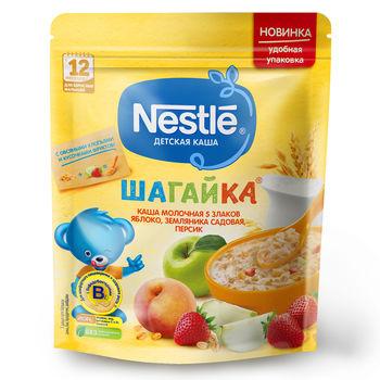 купить Каша 5 злаков яблоко-земляника-персикс молоком Nestle Шагайка, с 12 месяцев, 200г в Кишинёве