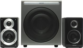 """Edifier S530D Black, 2.1/70W+ 2x35W RMS, Audio in: two digital (Optical, Coaxial) & two analog (RCA), Wired control with LCD display & Remote control, all wooden, (sub.8"""" + satl.(3,5""""+1""""))"""