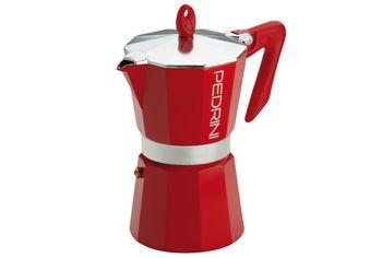 Кофеварка на 6 чашки Pedrini, алюминевая красная
