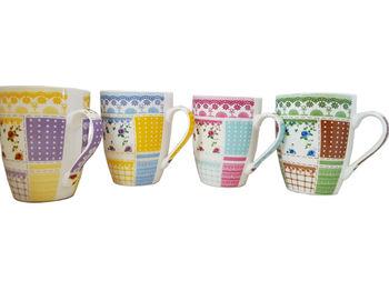 """Cana 330ml, """"Dantele si flori"""", din ceramica"""