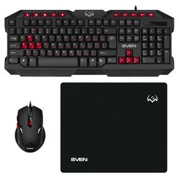 SVEN GS-9200 Gaming Set, Keyboard+Mouse+MousePad, keys 14 keys, 10 Fn-keys, mouse 5+1(800-2400 DPI) , USB, Black