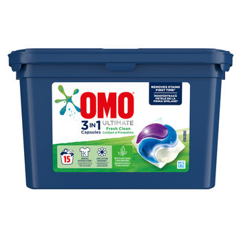 Omo Ultimate Trio Capsule Fresh Clean, 15 шт.
