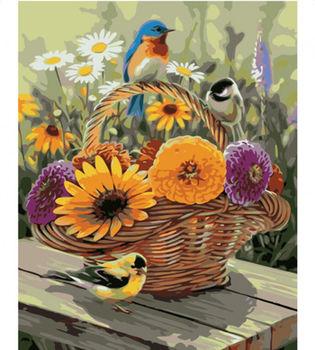 Картина по номерам 40x50 Цветные птички на корзинке цветов VA1740
