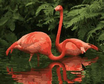 """PN5747 Картина по номерам Artissimo """"Flamingo-Couple"""", 4 *, 14 цветов, 40x50 см"""