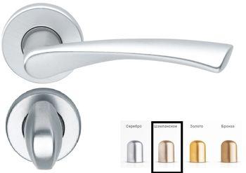 Дверная ручка на розетке Milano-F2 шампанское + накладка WC