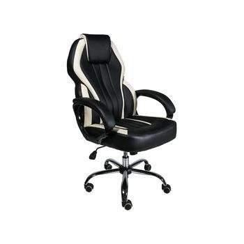 Офисное кресло MC 073 черное с бежевыми линиями