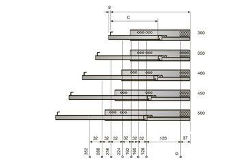 Glisieră INDAMATIC L-500 deschidere totală cu amortizor