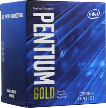 Intel® Pentium® Gold G5600F, S1151, 3.9GHz (2C/4T), 4MB Cache, No Integrated GPU, 14nm 54W, Box