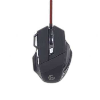 Gembird MUSG-02, Programmable gaming mouse, 7-button, 3600dpi, Illuminated scroll wheel, logo and side accents, Black