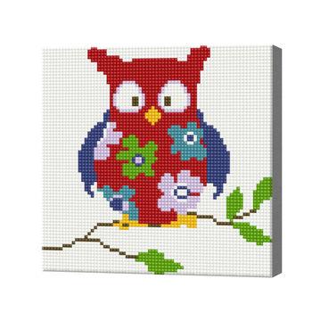 Цветочная сова, 20x20 см, алмазная мозаика