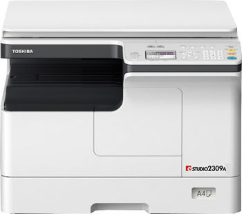 MFP Toshiba e-Studio 2309A, Mono Copier/Printer/Scanner, Duplex, Net, A3/14ppm,A4/23ppm,2400x600dpi,25–400%,52-216g/m2,512Mb,1x250+100-sheet ,59k pag per month, Starter KIT:Drum OD-2505_59k pag,Developer D-2505_59k pag,Toner T-2309E_17,5kpar A4 at 6%