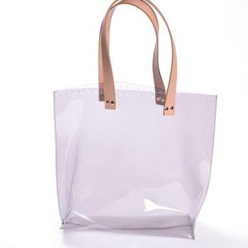 Bază transparentă pentru geantă, cu mânere / Roz pudrat