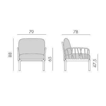 Кресло с подушками для сада и терас Nardi KOMODO POLTRONA TORTORA-grigio 40371.10.163