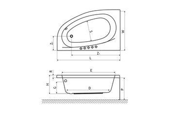 Ванна асимметричная Excellent Kameleon 170