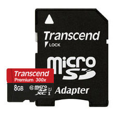 Transcend 8GB microSDHC Class10 UHS-I with SD adapter, 300x, Up to: 45MB/s