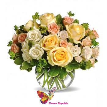 купить Букет роз в круглой вазе в Кишинёве