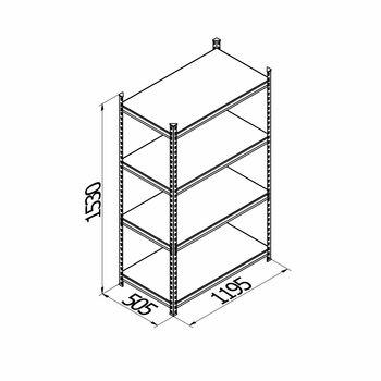 cumpără Raft metalic galvanizat cu placă din plastic Gama Box  1195Wx505Dx1530H mm, 4 polițe/PLB în Chișinău