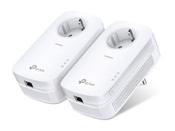 TP-LINK  TL-PA8010 Kit, AV1300 Powerline Adapter Starter Kit with AC Passthrough, 2x2 MIMO, Beamforming, 1300Mbps Powerline Datarate, 1 Gigabit LAN Port, HomePlug AV2, Green Powerline, Plug and Play, Pair Button, Range 300 meters in house