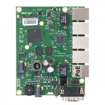 RouterBOARD 450Gx4 with four core 716MHz Atheros CPU, 1 GB RAM, 5 Gigabit LAN ports, PoE OUT on port #5, RouterOS L5.