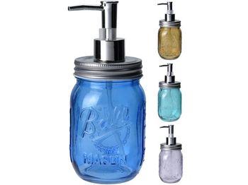 """Диспенсер для жидкого мыла """"Банка"""" H19cm, D8cm, стекло, разн"""