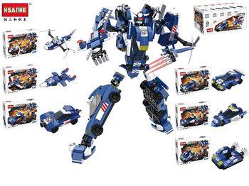 Конструктор HSANHE Робот-машина, 21.6X15.2X5cm, 6 видов (син