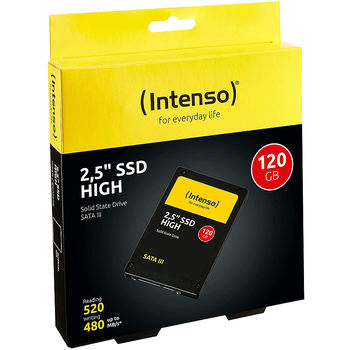 """Solid state drive intern 120GB SSD 2.5"""" Intenso High (3813430), 7mm, Read 520MB/s, Write 480MB/s, SATA III 6.0 Gbps"""