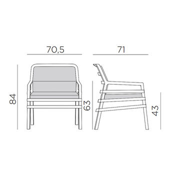 Кресло с подушками Nardi ARIA FIT BIANCO grigio 40330.00.163.FIT (Кресло с подушками для сада и терас)