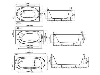 Акриловая прямоугольная ванна GRACJA(00307) 140x70x54.5cm(плюс крепления)