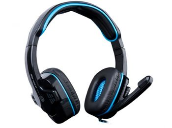 "MARVO ""Ice Dragon ASH-321"", Gaming Headset, Microphone, 40mm driver unit, Volume control, Adjustable headband, 3.5mm jack, Braded cable, Black-Blue"