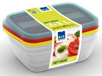 Набор емкостей пищевых Vedo 3шт, 1l, 19.5X14X6cm, разн цвет