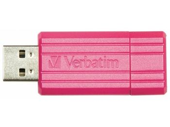 32GB USB2.0  Verbatim PinStripe, Pink, Push and Pull Sliding feature (Read 12 MByte/s, Write 5 MByte/s)