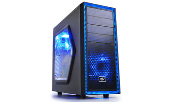 "DEEPCOOL ""TESSERACT SW"" ATX Case,  with Side-Window, without PSU, Massive metal mesh, Tool-less, 1x 120mm front Blue LED fan, 1x 120mm rear Blue LED fan, up to 3x 2.5"" HDD/SSD, Bottom loaded PSU, 1xUSB3.0, 1xUSB2.0 /Audio, Black"