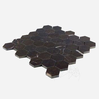 cumpără Mozaic Marmura Nero Marquina Hexagon Polisata 2.5 x 2.5 cm în Chișinău