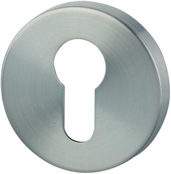Дверная ручка на розетке Alaska никель сатин + накладка под цилиндр