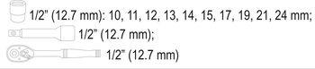 """купить НАБОР ГОЛОВОК С ТРЕЩОТКОЙ  STHOR 1/2"""",12 шт, 58633 в Кишинёве"""