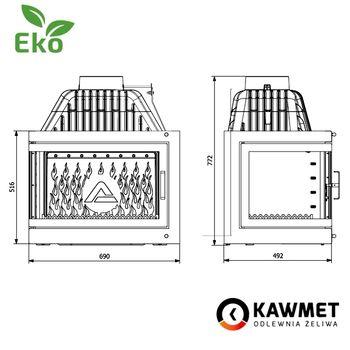 Каминная топка KAWMET W17 EKO 16,1 kW с правым боковым стеклом